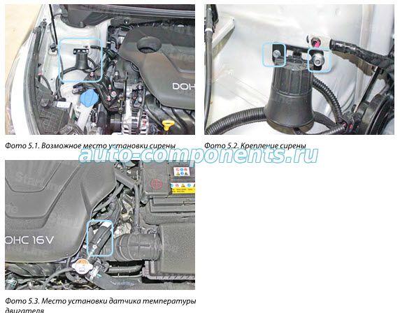 Точки подключения сигнализации на автомобиль KIA Ceed